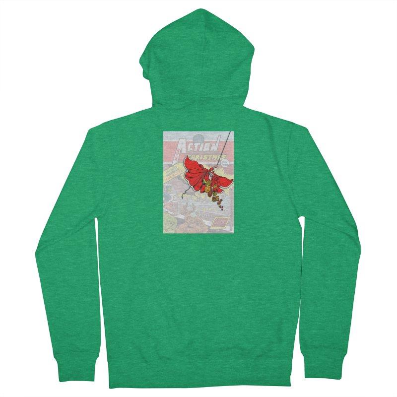 Action Christmas Sky Santa! Men's Zip-Up Hoody by jokertoons's Artist Shop