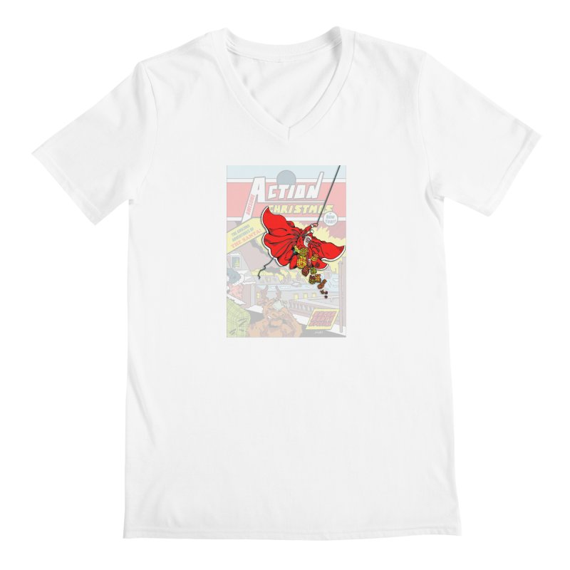 Action Christmas Sky Santa! Men's V-Neck by jokertoons's Artist Shop
