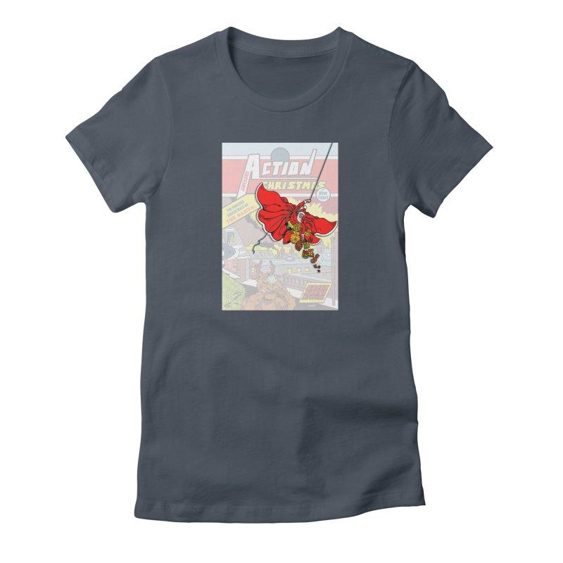 Action Christmas Sky Santa! Women's T-Shirt by jokertoons's Artist Shop