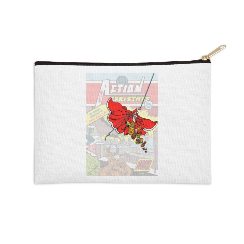 Action Christmas Sky Santa! Accessories Zip Pouch by jokertoons's Artist Shop