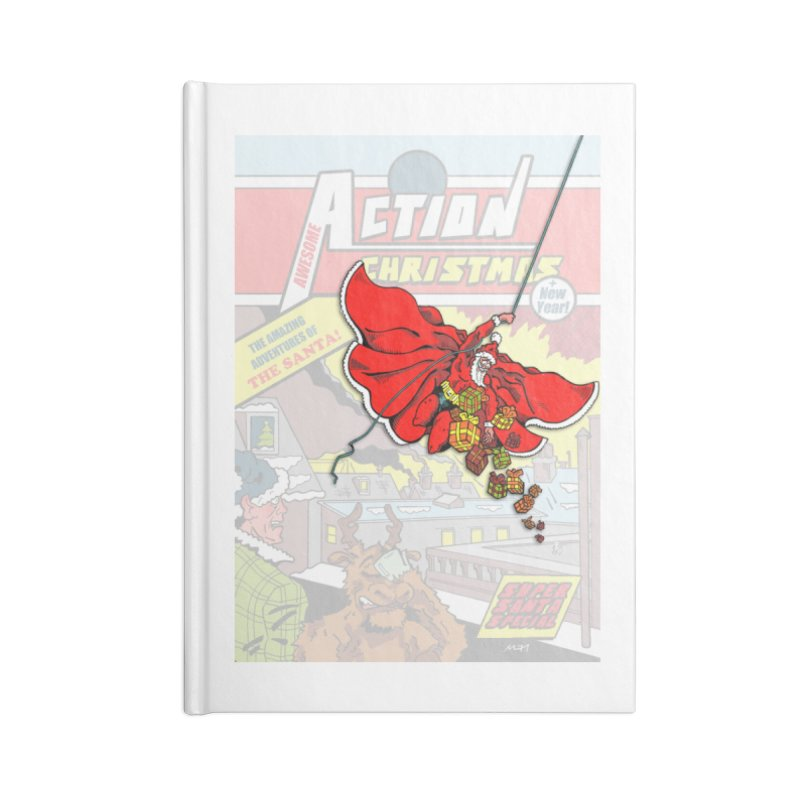 Action Christmas Sky Santa! Accessories Notebook by jokertoons's Artist Shop