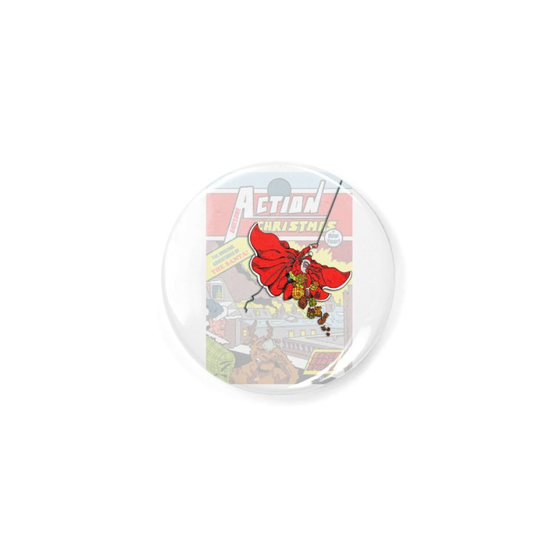 Action Christmas Sky Santa! Accessories Button by jokertoons's Artist Shop