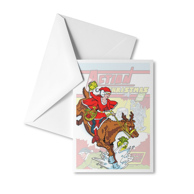 Action Christmas Wonder Santa! Accessories Greeting Card by jokertoons's Artist Shop