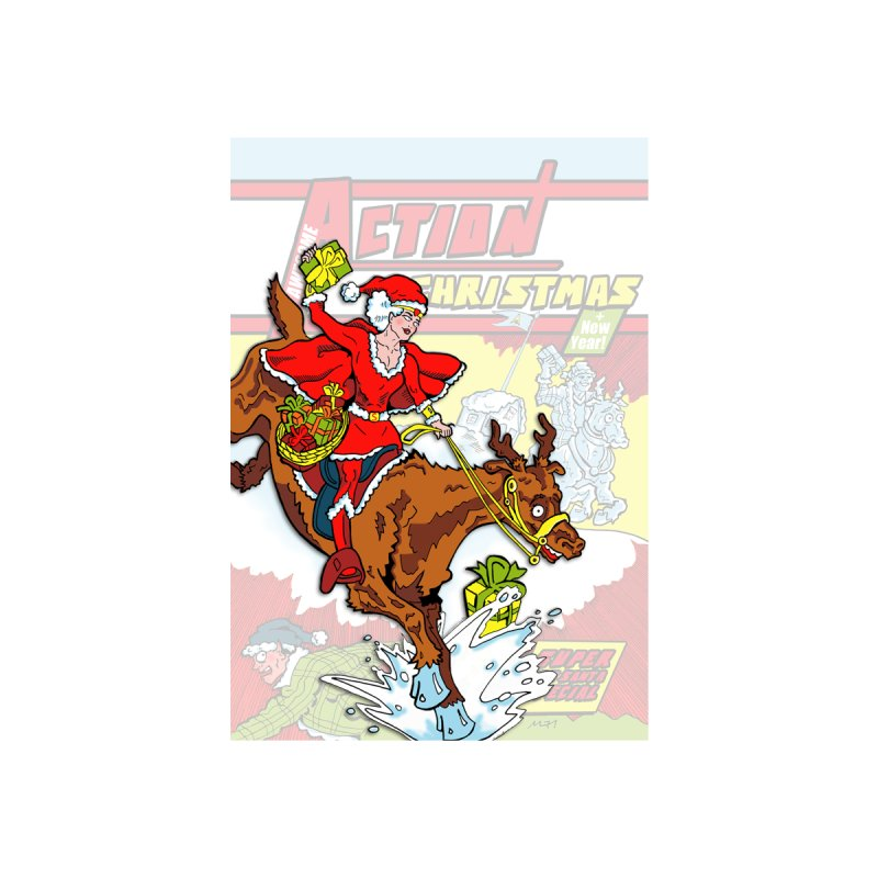 Action Christmas Wonder Santa! Women's T-Shirt by jokertoons's Artist Shop