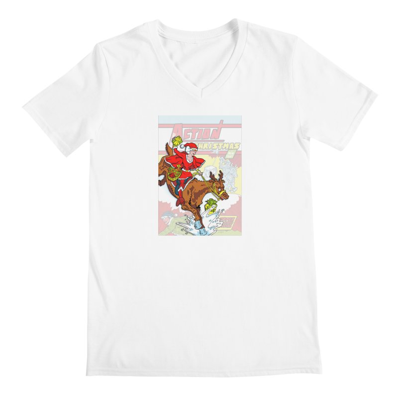 Action Christmas Wonder Santa! Men's V-Neck by jokertoons's Artist Shop