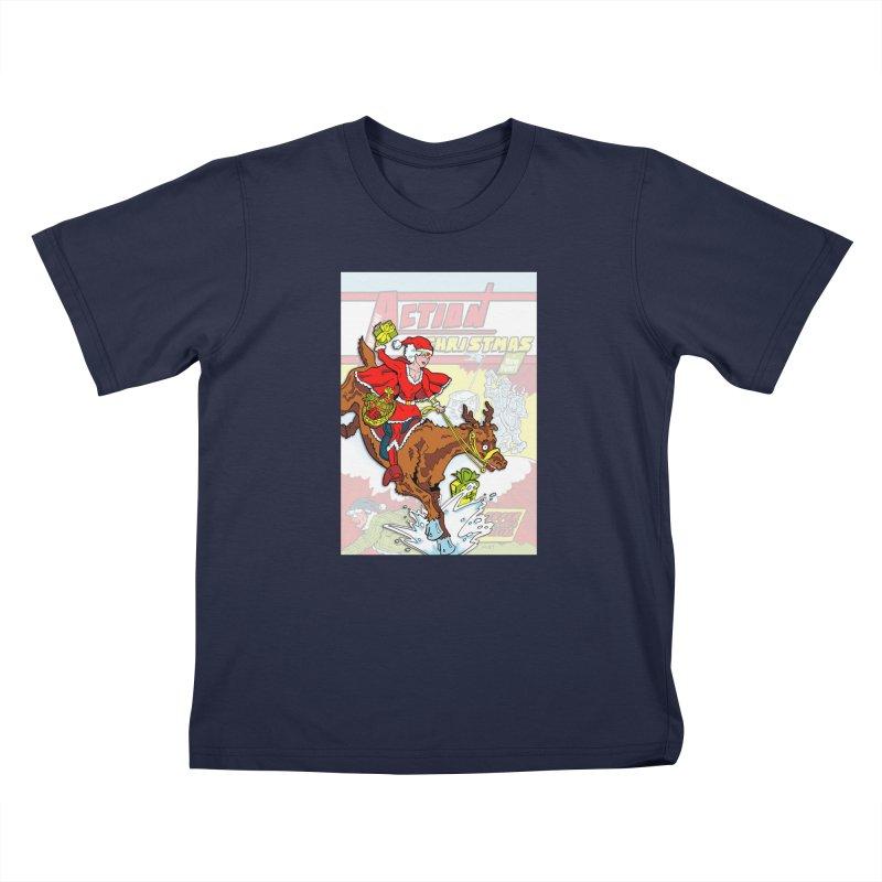 Action Christmas Wonder Santa! Kids T-Shirt by jokertoons's Artist Shop