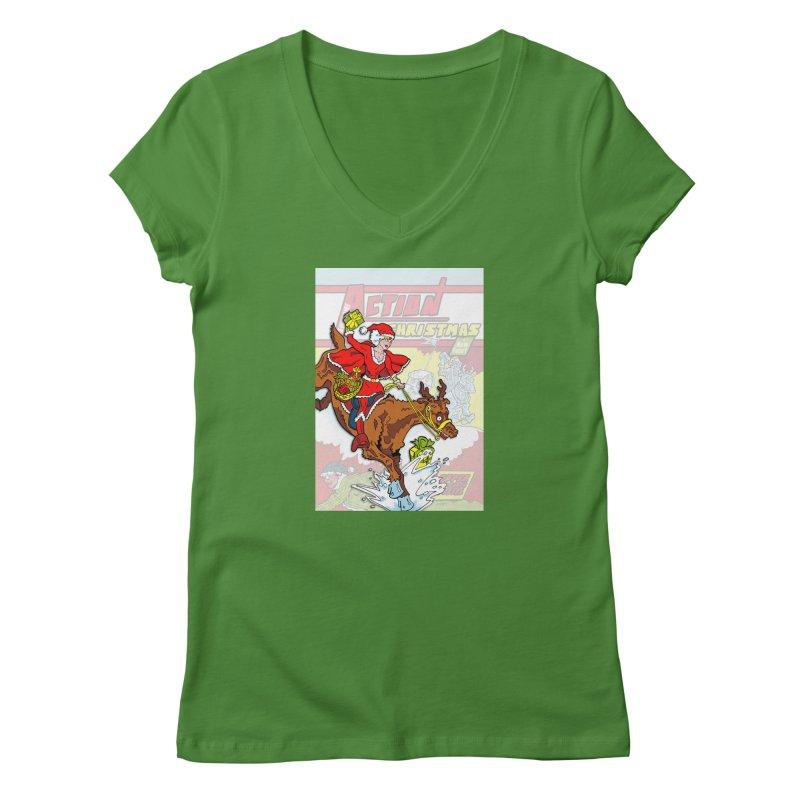 Action Christmas Wonder Santa! Women's V-Neck by jokertoons's Artist Shop