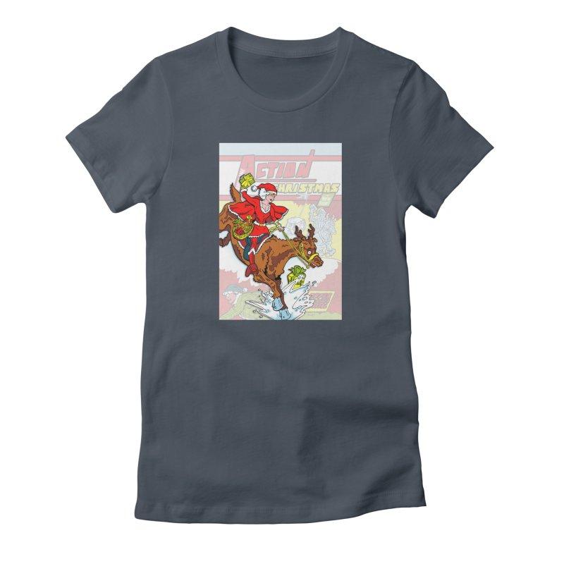 Action Christmas Wonder Santa! Women's T-Shirt by jokertoons's Artist Shop