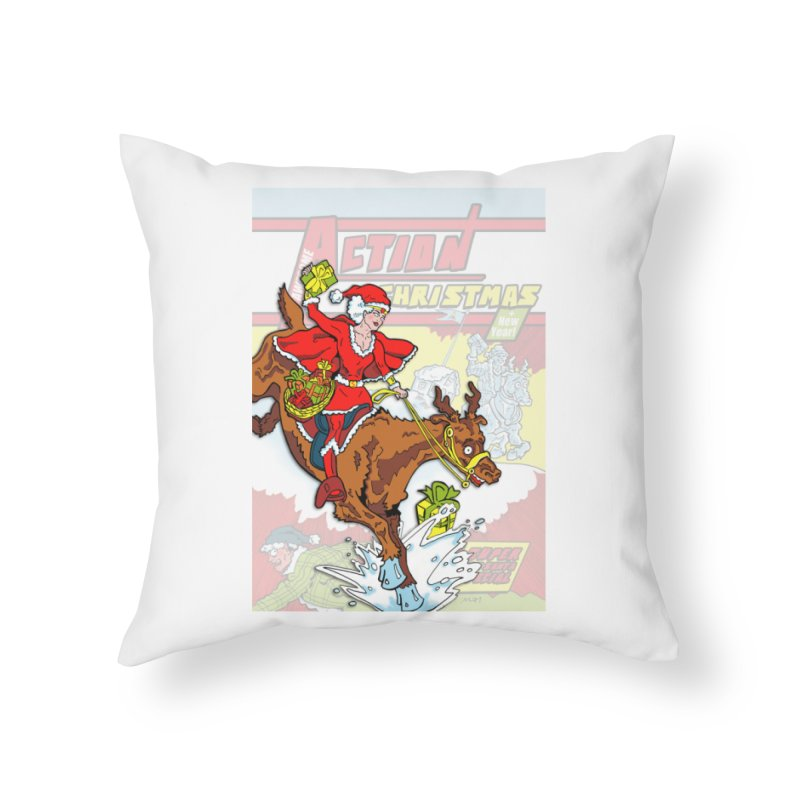 Action Christmas Wonder Santa! Home Throw Pillow by jokertoons's Artist Shop