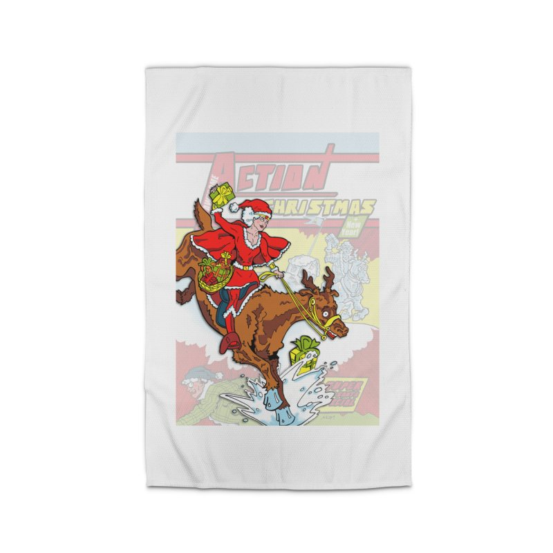 Action Christmas Wonder Santa! Home Rug by jokertoons's Artist Shop