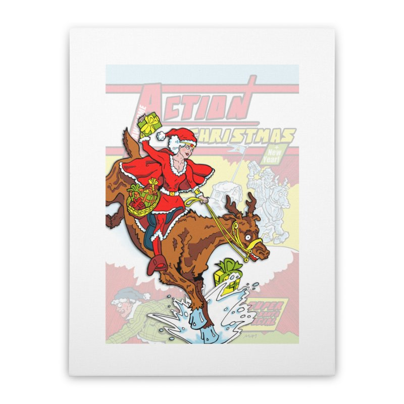 Action Christmas Wonder Santa! Home Stretched Canvas by jokertoons's Artist Shop