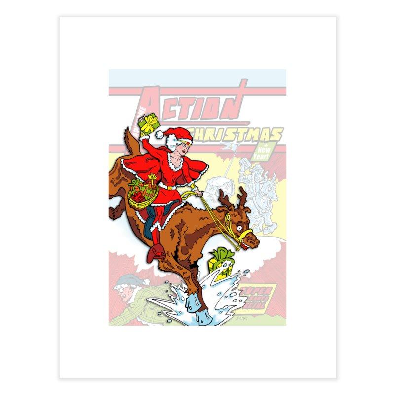 Action Christmas Wonder Santa! Home Fine Art Print by jokertoons's Artist Shop