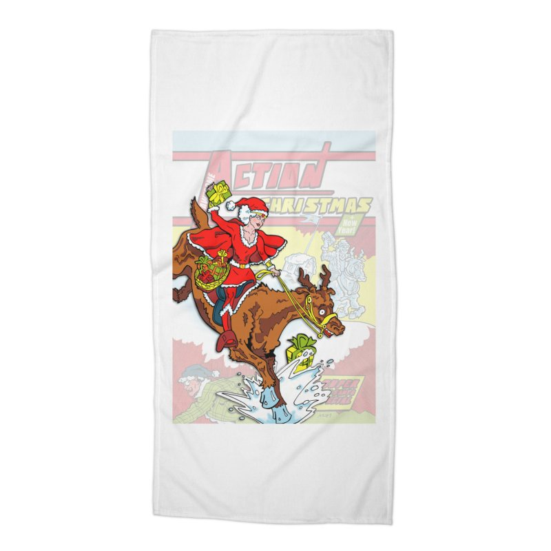 Action Christmas Wonder Santa! Accessories Beach Towel by jokertoons's Artist Shop