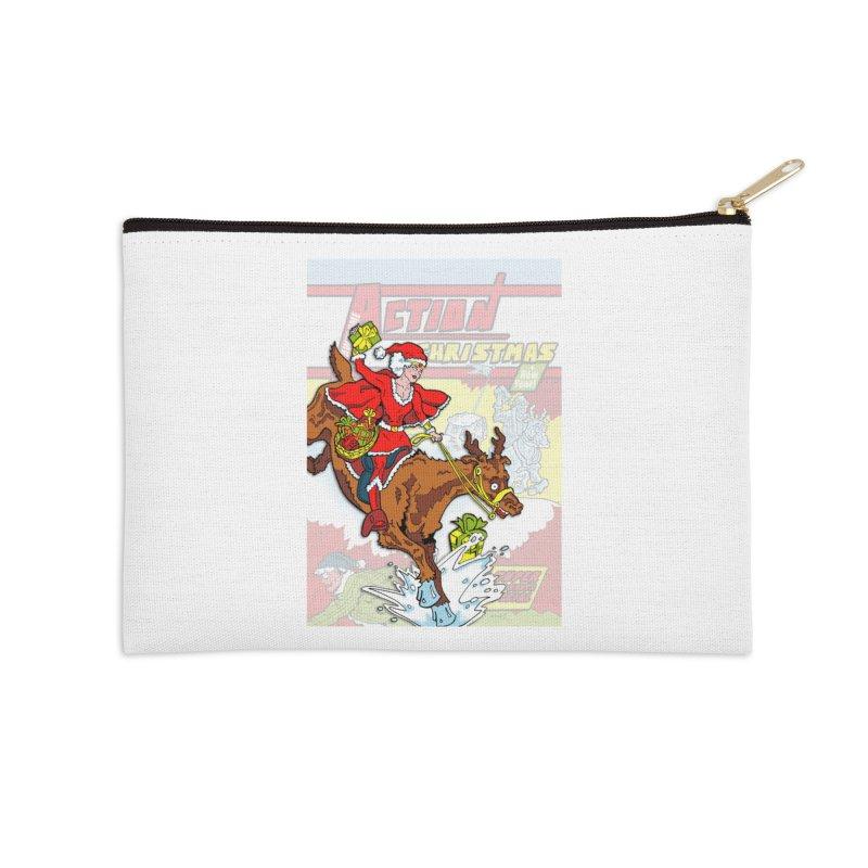 Action Christmas Wonder Santa! Accessories Zip Pouch by jokertoons's Artist Shop