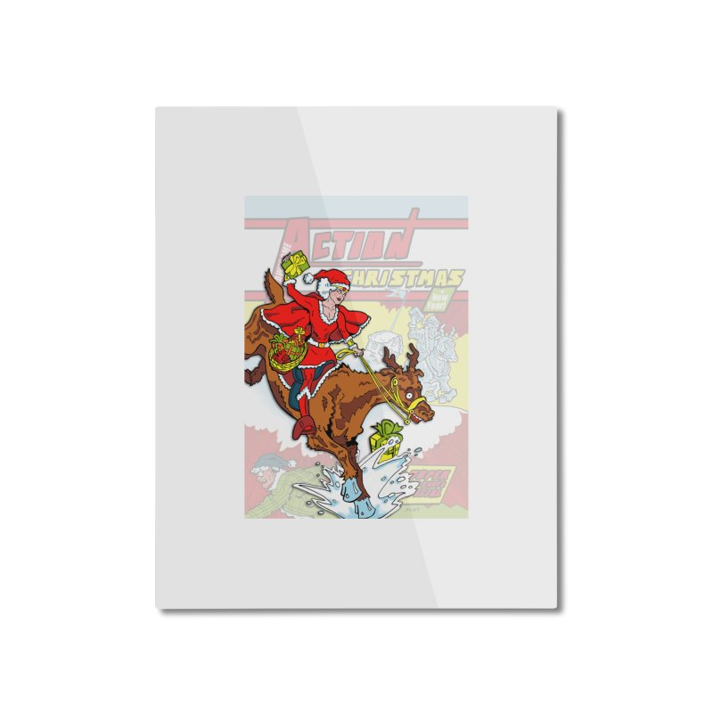 Action Christmas Wonder Santa! Home Mounted Aluminum Print by jokertoons's Artist Shop
