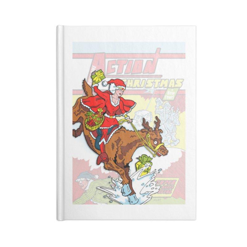 Action Christmas Wonder Santa! Accessories Notebook by jokertoons's Artist Shop