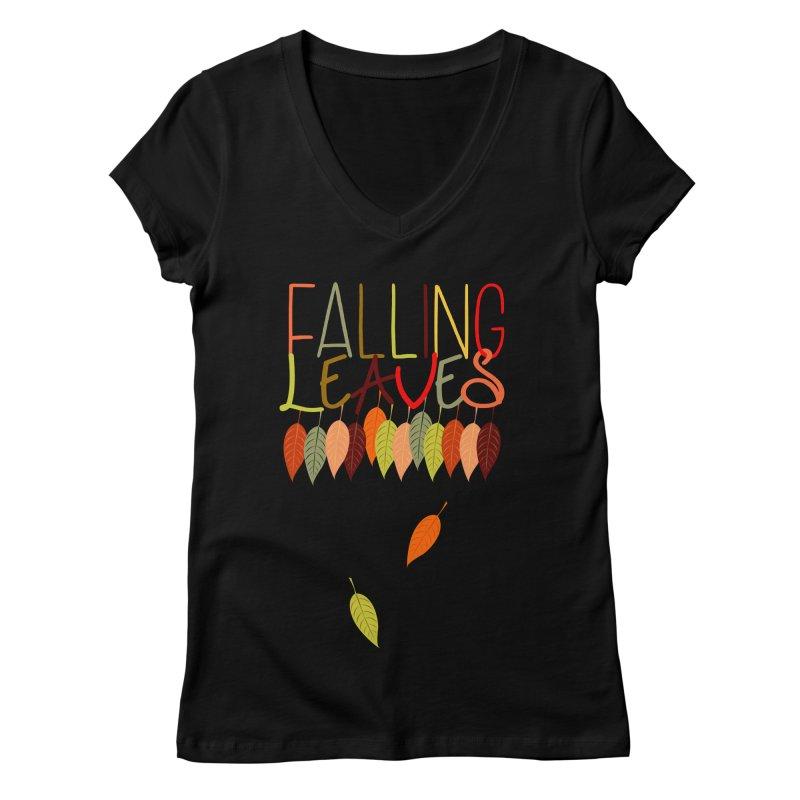 Falling Leaves Women's V-Neck by jokertoons's Artist Shop