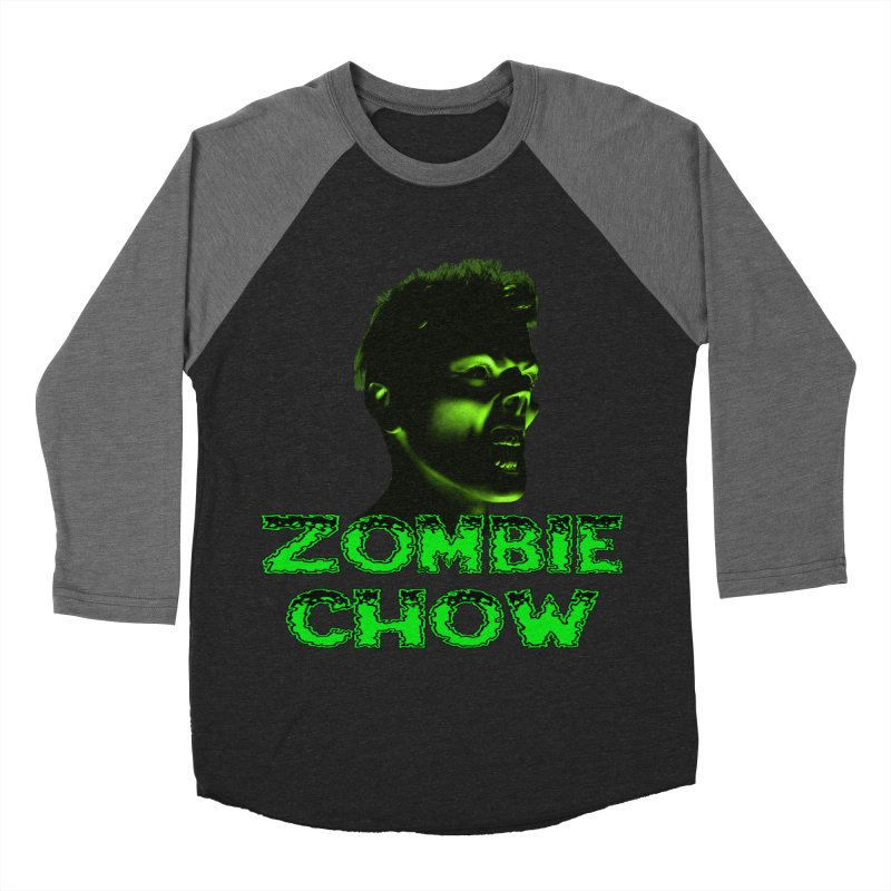 Zombie Chow Men's Baseball Triblend Longsleeve T-Shirt by Magickal Vision: The Art of Jolie E. Bonnette
