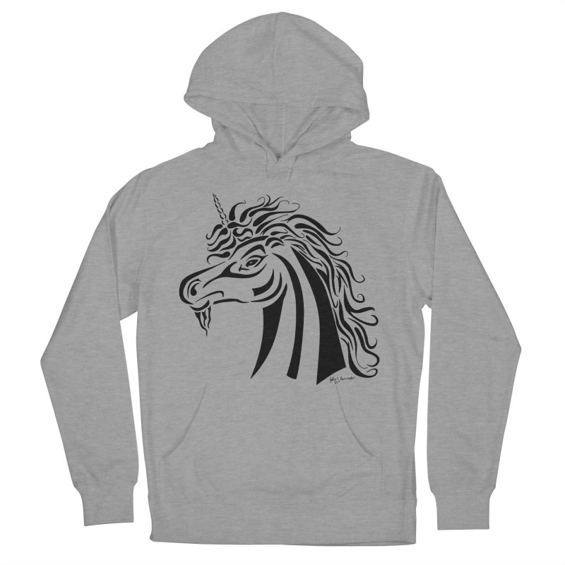 Unicorn Tribal Men's French Terry Pullover Hoody by Magickal Vision: The Art of Jolie E. Bonnette