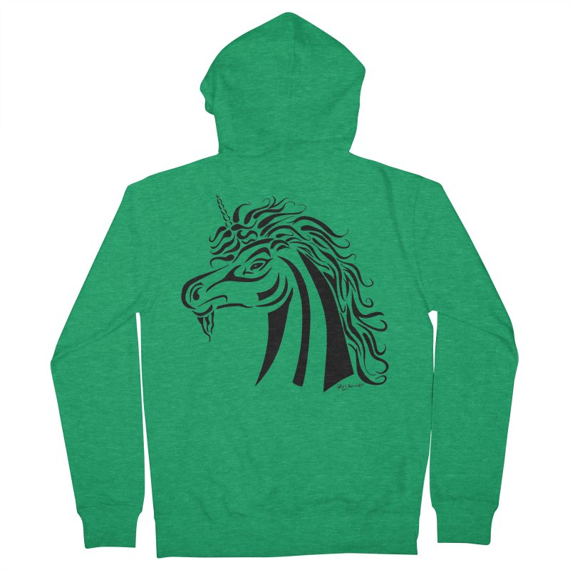 Unicorn Tribal Women's French Terry Zip-Up Hoody by Magickal Vision: The Art of Jolie E. Bonnette