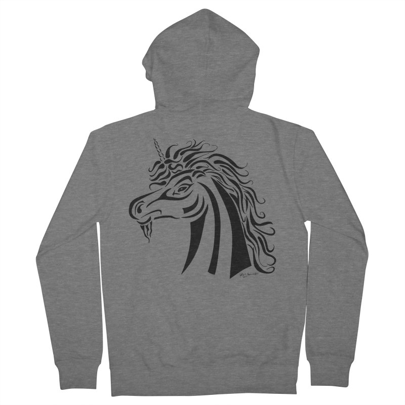 Unicorn Tribal Men's French Terry Zip-Up Hoody by Magickal Vision: The Art of Jolie E. Bonnette
