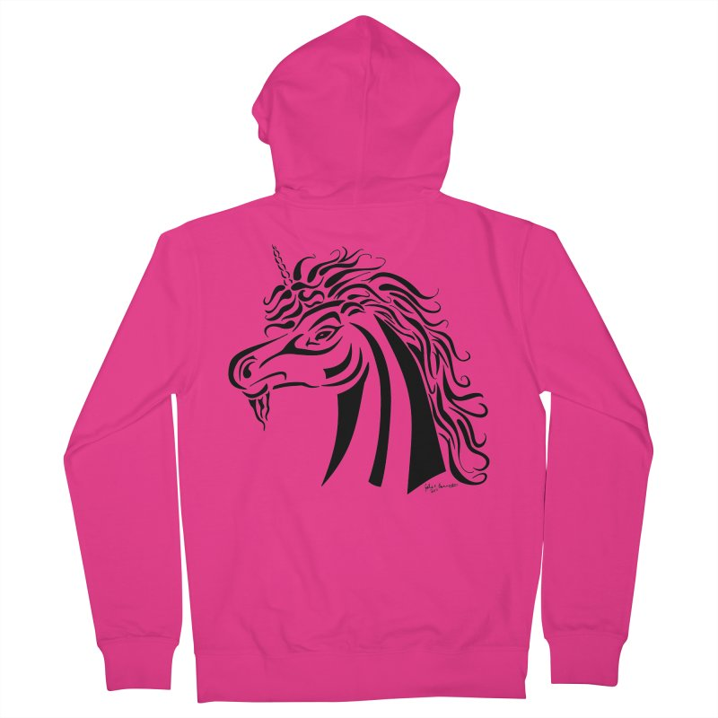 Unicorn Tribal Men's Zip-Up Hoody by Magickal Vision: The Art of Jolie E. Bonnette