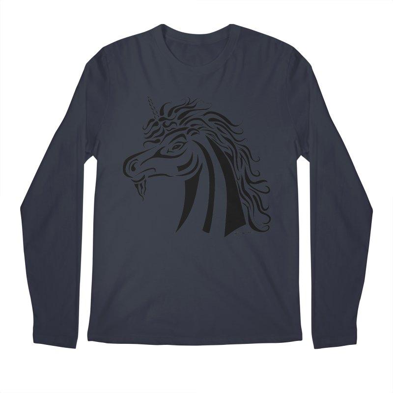 Unicorn Tribal Men's Regular Longsleeve T-Shirt by Magickal Vision: The Art of Jolie E. Bonnette