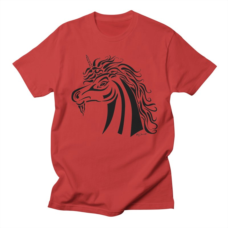 Unicorn Tribal Men's Regular T-Shirt by Magickal Vision: The Art of Jolie E. Bonnette