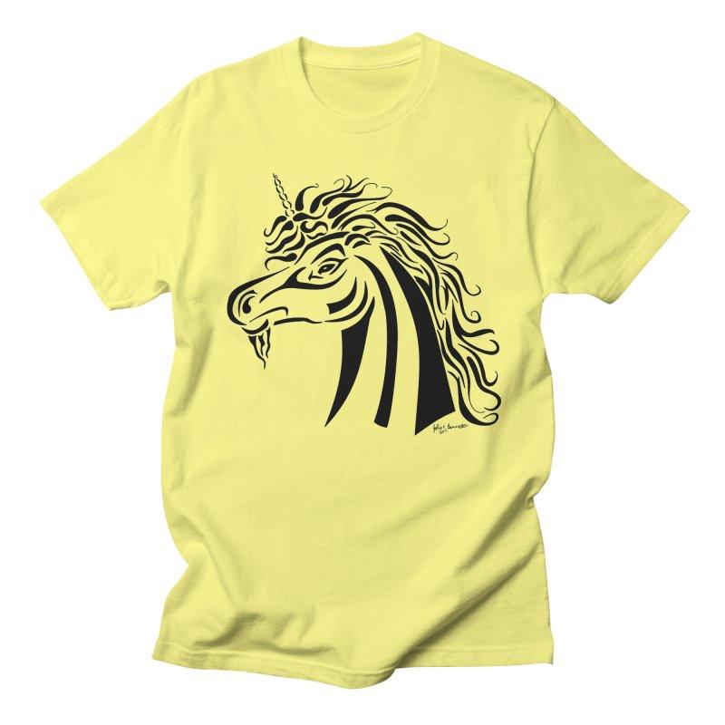 Unicorn Tribal Men's Regular T-Shirt by Magickal Vision: The Art of Jolie E. Bonnette