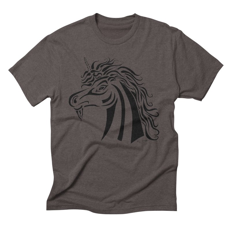 Unicorn Tribal Men's Triblend T-Shirt by Magickal Vision: The Art of Jolie E. Bonnette