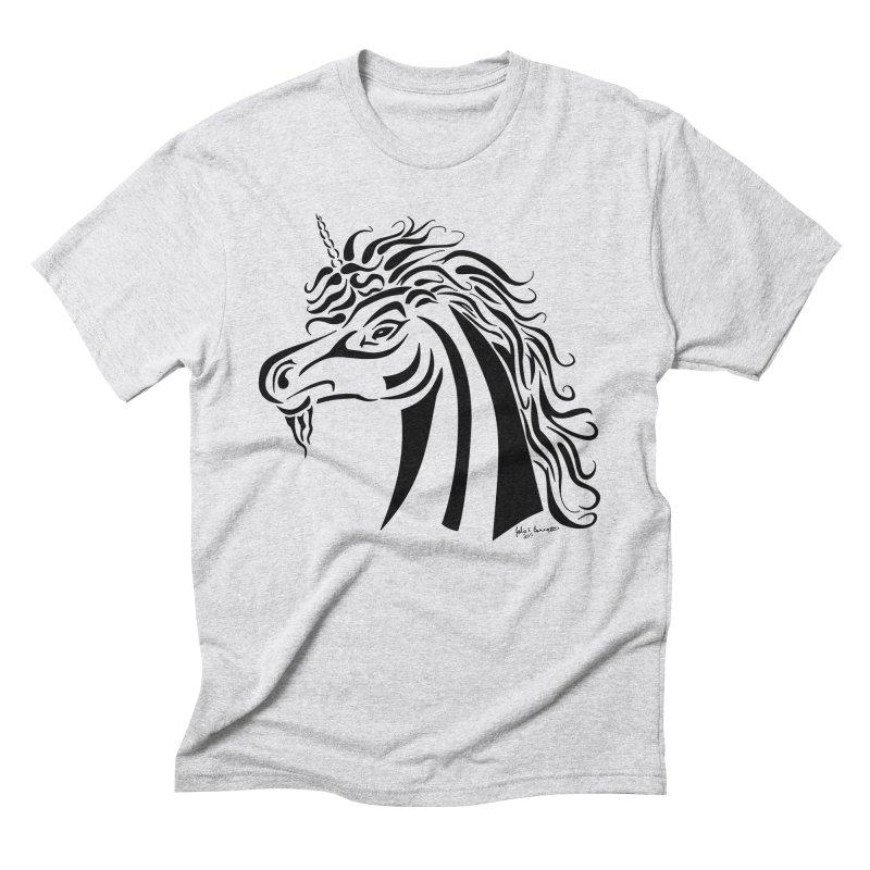 Unicorn Tribal Men's Triblend T-Shirt by Magickal Vision: The Art of Jolie E. Bonnette