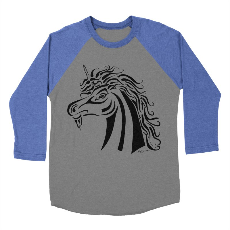 Unicorn Tribal Women's Baseball Triblend Longsleeve T-Shirt by Magickal Vision: The Art of Jolie E. Bonnette