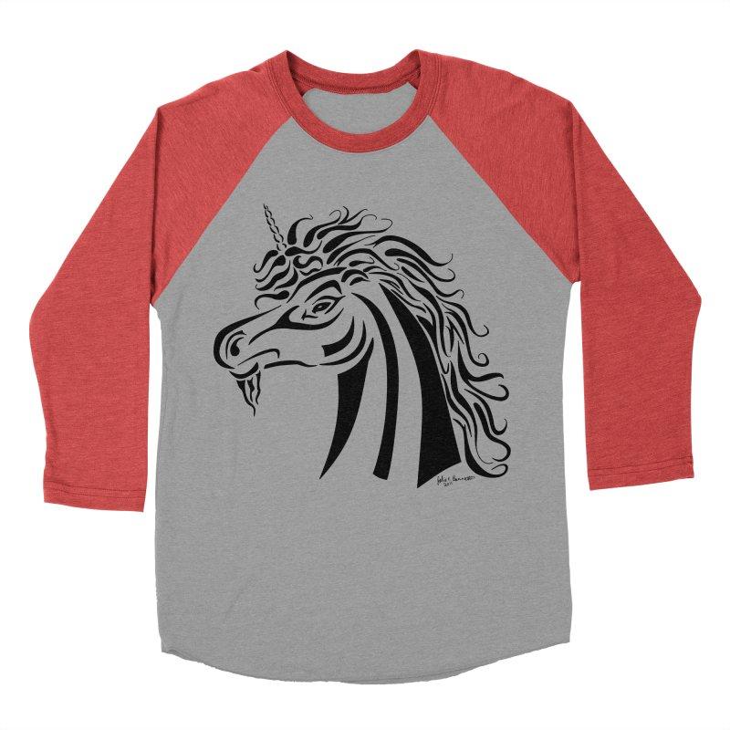 Unicorn Tribal Men's Baseball Triblend Longsleeve T-Shirt by Magickal Vision: The Art of Jolie E. Bonnette
