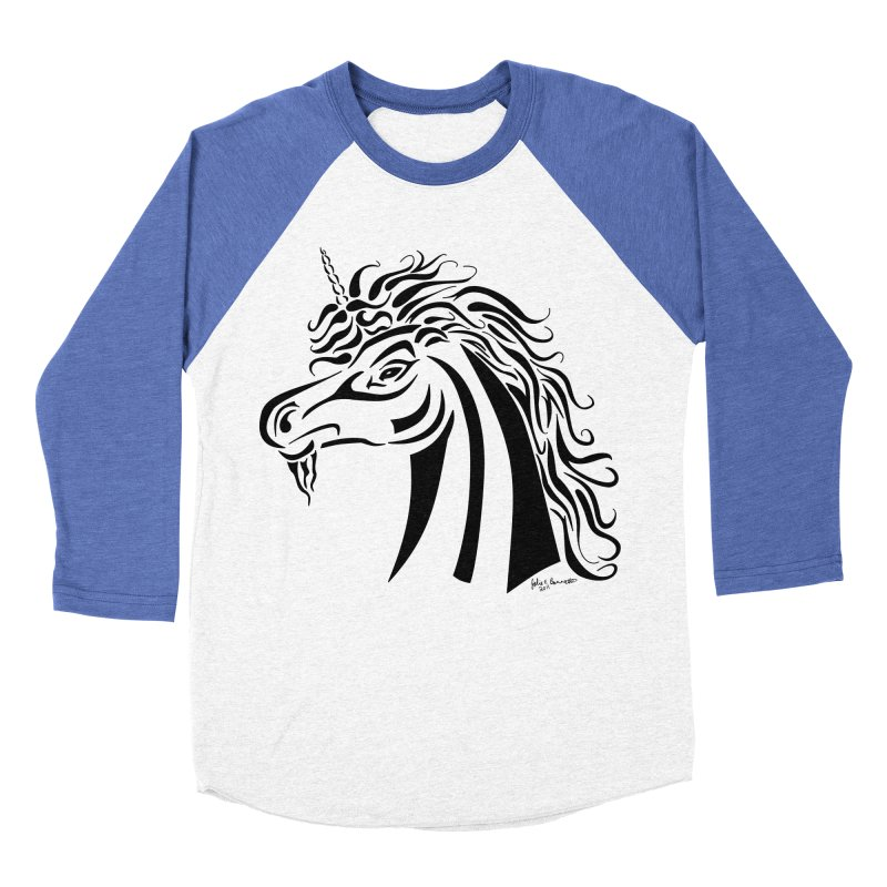 Unicorn Tribal Men's Baseball Triblend Longsleeve T-Shirt by Magickal Vision: The Art of Jolie E. Bonnette