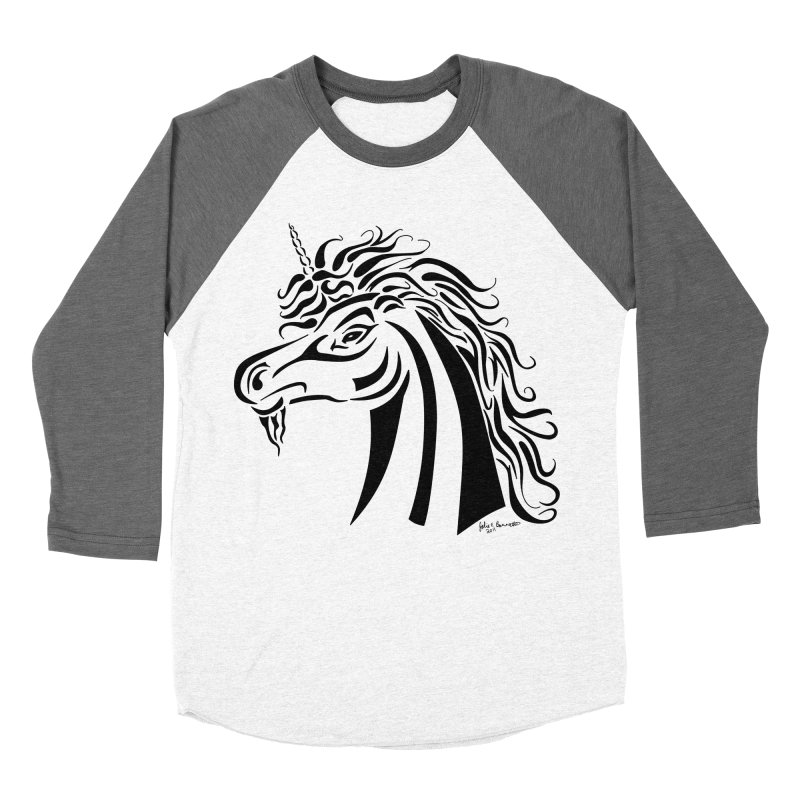 Unicorn Tribal Men's Baseball Triblend T-Shirt by Magickal Vision: The Art of Jolie E. Bonnette