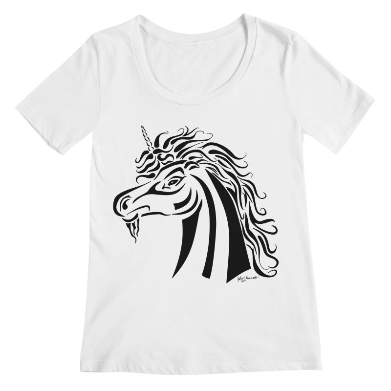 Unicorn Tribal Women's Regular Scoop Neck by Magickal Vision: The Art of Jolie E. Bonnette