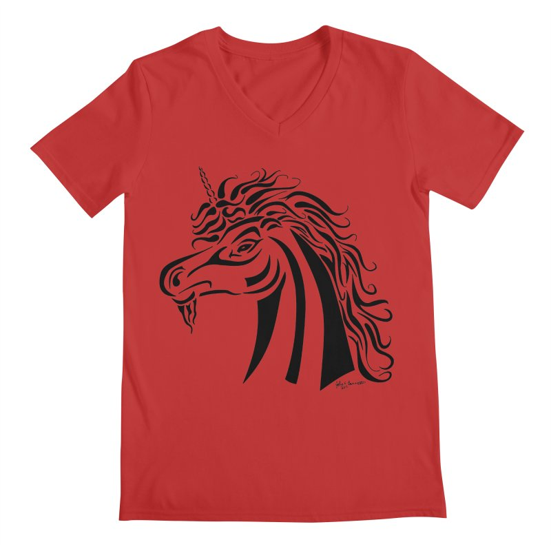 Unicorn Tribal Men's V-Neck by Magickal Vision: The Art of Jolie E. Bonnette