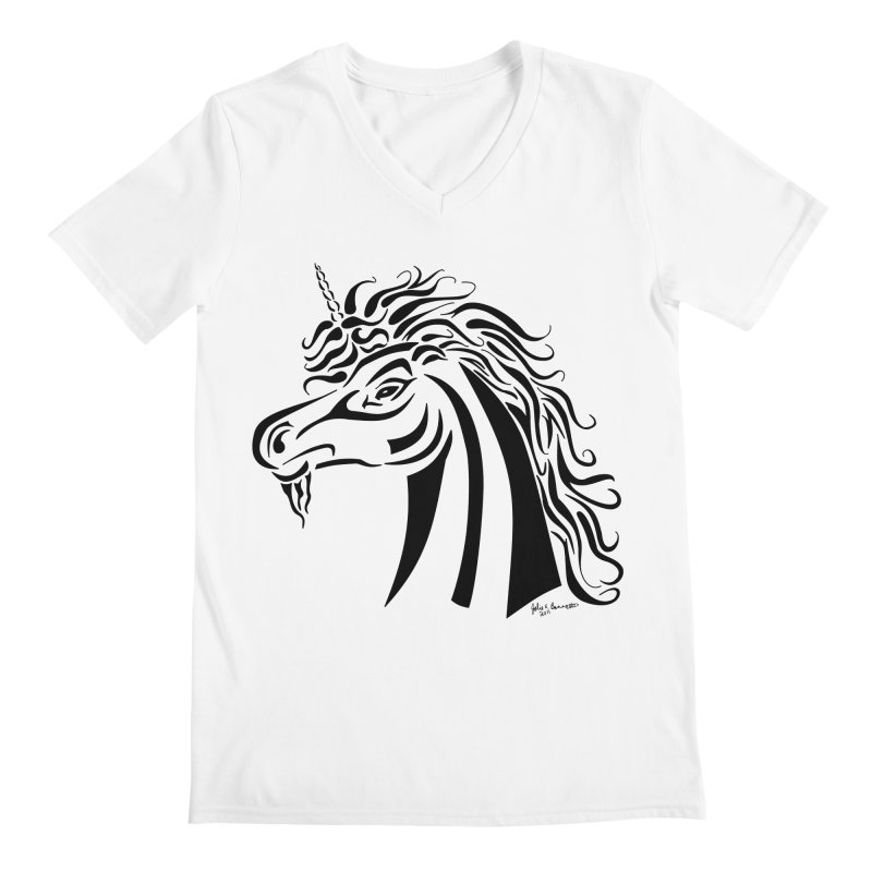 Unicorn Tribal Men's Regular V-Neck by Magickal Vision: The Art of Jolie E. Bonnette