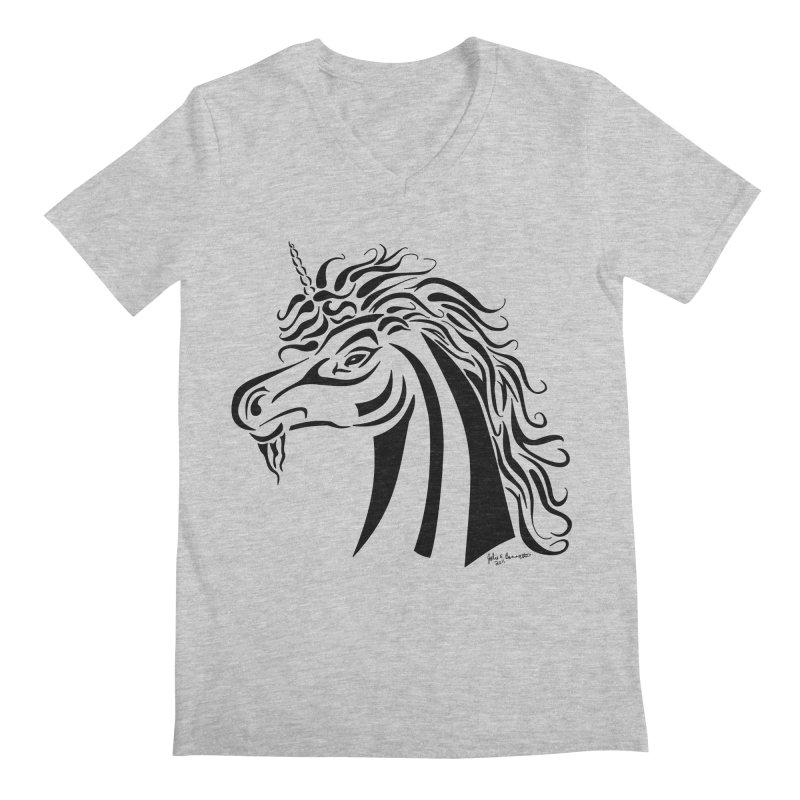 Unicorn Tribal Men's Regular V-Neck by Magickal Vision: The Art of Jolie E. Bonnette