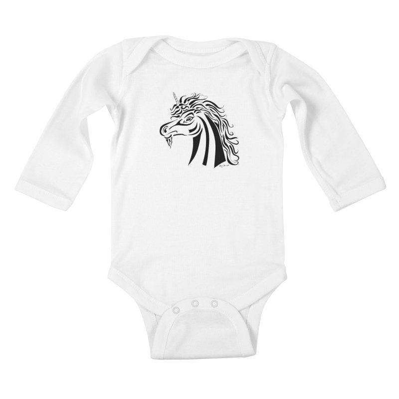 Unicorn Tribal Kids Baby Longsleeve Bodysuit by Magickal Vision: The Art of Jolie E. Bonnette