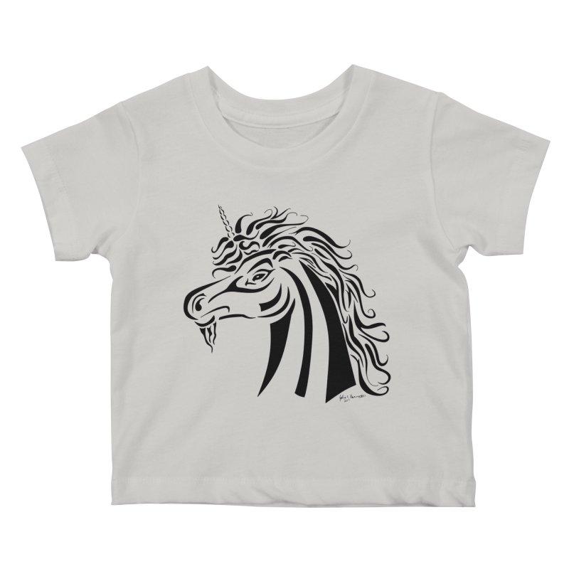 Unicorn Tribal Kids Baby T-Shirt by Magickal Vision: The Art of Jolie E. Bonnette