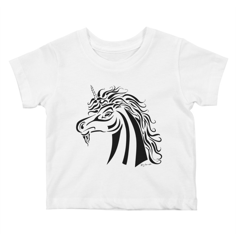 Unicorn Tribal Kids Baby T-Shirt by Magickal Vision: The Art of Jolie E. Bonnette