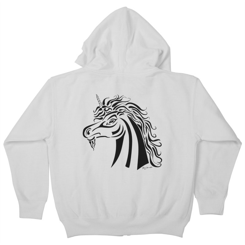 Unicorn Tribal Kids Zip-Up Hoody by Magickal Vision: The Art of Jolie E. Bonnette