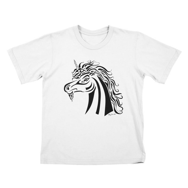 Unicorn Tribal Kids T-Shirt by Magickal Vision: The Art of Jolie E. Bonnette