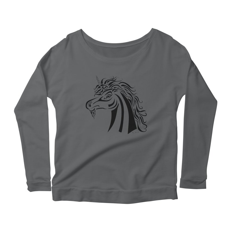 Unicorn Tribal Women's Longsleeve Scoopneck  by Magickal Vision: The Art of Jolie E. Bonnette