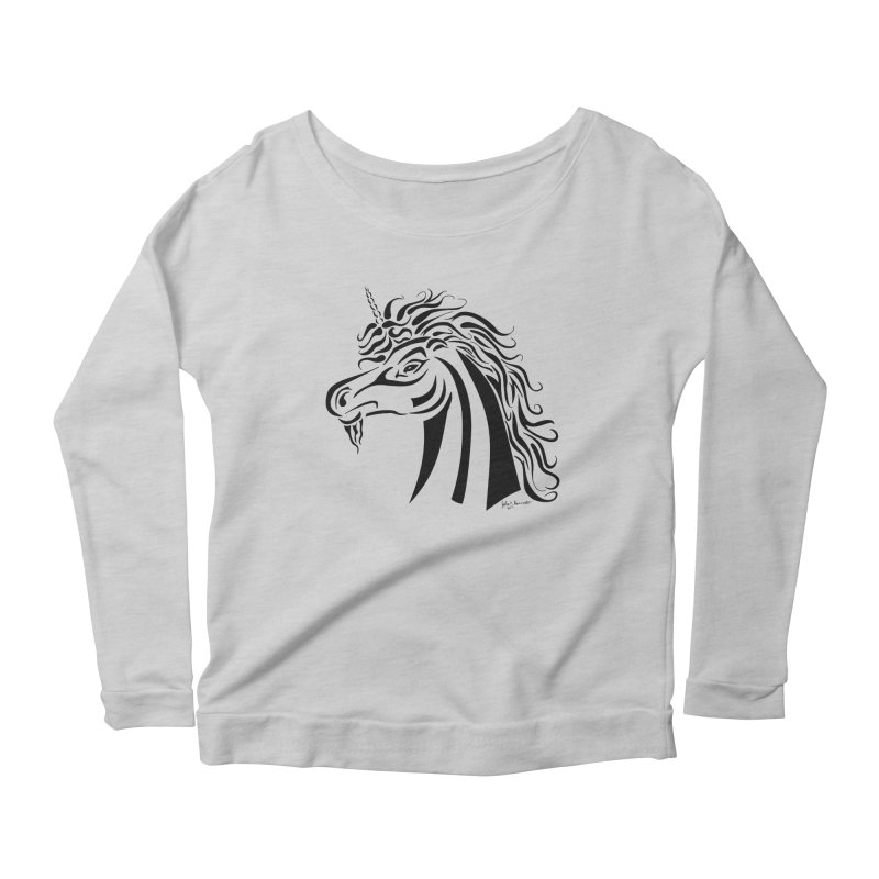 Unicorn Tribal Women's Scoop Neck Longsleeve T-Shirt by Magickal Vision: The Art of Jolie E. Bonnette