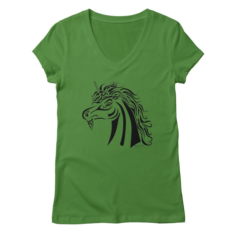 Unicorn Tribal Women's Regular V-Neck by Magickal Vision: The Art of Jolie E. Bonnette