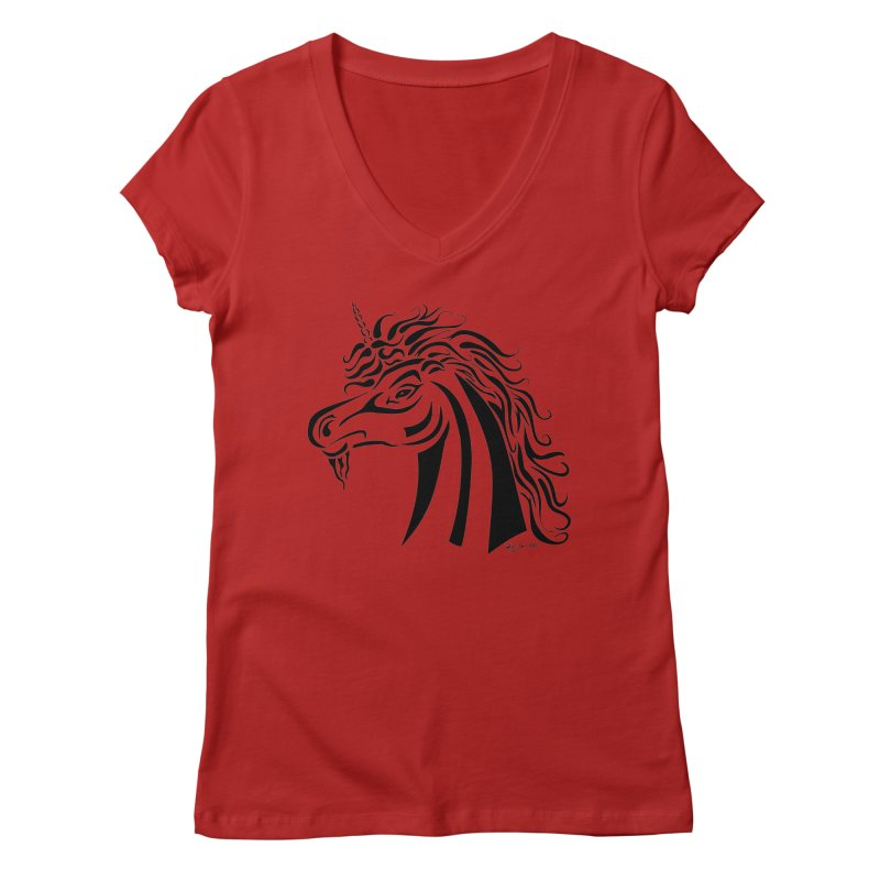 Unicorn Tribal Women's V-Neck by Magickal Vision: The Art of Jolie E. Bonnette