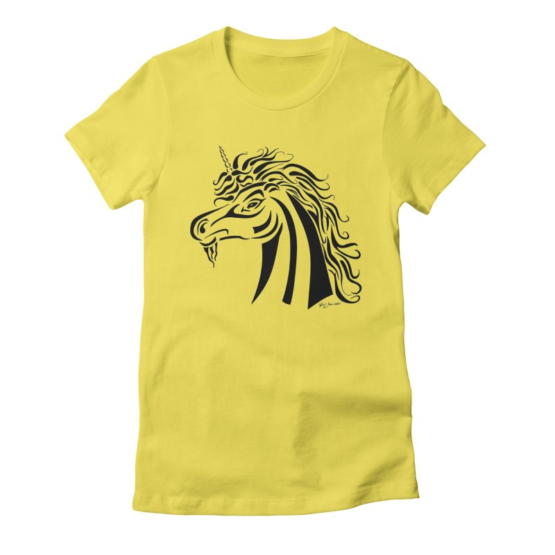Unicorn Tribal Women's Fitted T-Shirt by Magickal Vision: The Art of Jolie E. Bonnette