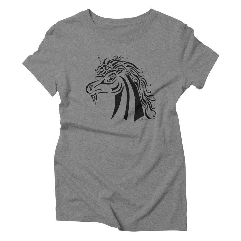 Unicorn Tribal Women's Triblend T-Shirt by Magickal Vision: The Art of Jolie E. Bonnette